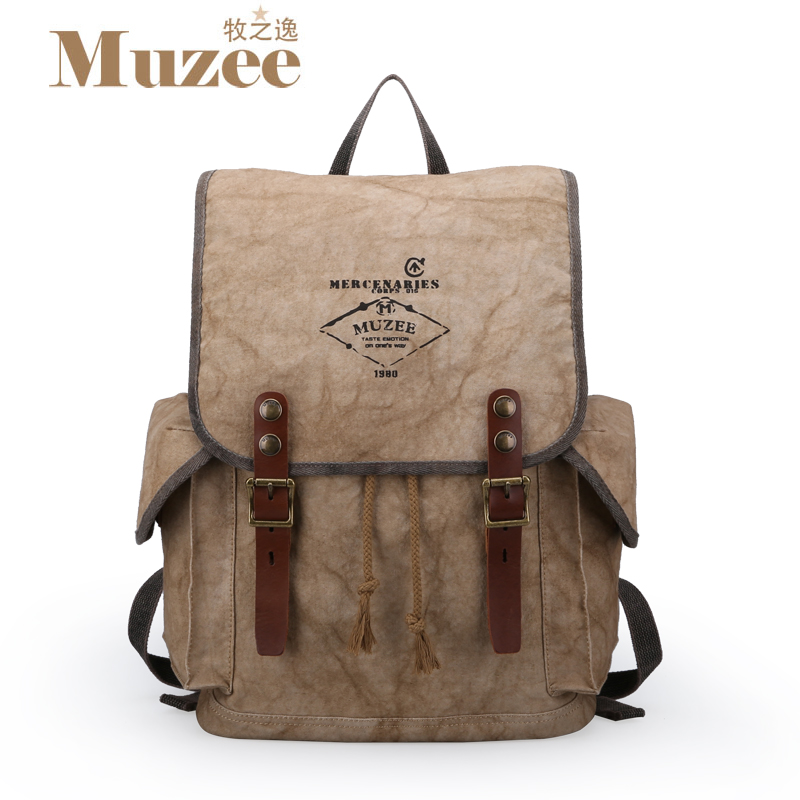 ФОТО Muzee 2017 New Fashion Arcuate Leisure Men's Backpack Strap Zipper Solid Color Casual Canvas Backpack School Bag Travel Bag