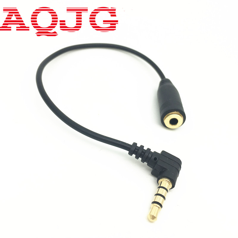 15cm 90 Degree Right Angled 3 5mm 3 Pole Audio Stereo Male to Female Extension Cable AQJG