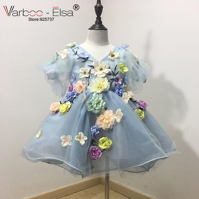 VARBOO_ELSA 2017 Flower Girls Jurken voor bruiloften custom Blue - Bruiloft feestjurken - Foto 1