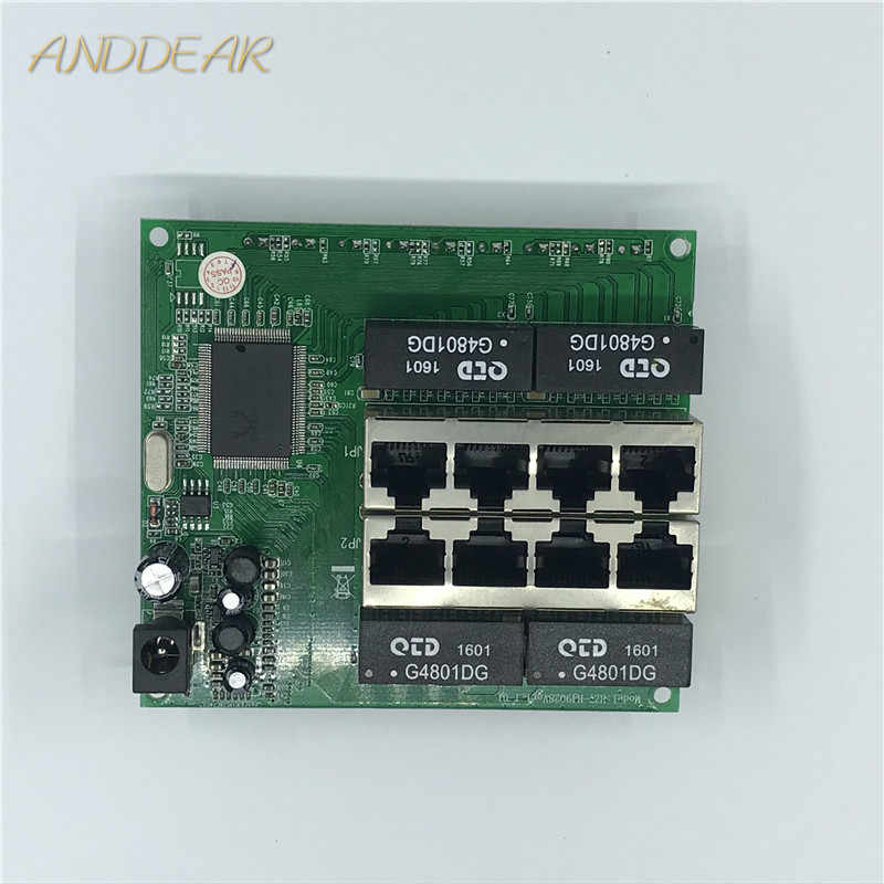 OEM PBC 8 Port Switch Gigabit Ethernet 8 Porta con 8 pin way intestazione 10/100/1000 m hub 8way pin di alimentazione Pcb board OEM foro della vite