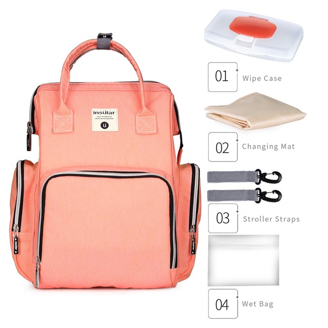Insular Baby Diaper Changing Backpack Mother Travel Bag Baby Nappies Handbag Thermal Bag For Baby Strollers Changing Backpack