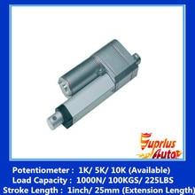 1 K/5 K/10 K 1 дюймов/25 мм ход линейного привода 12 v и позиции отзывы 900N/198LBS нагрузки потенциометр привода