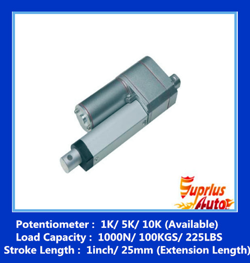 Available: 1K/ 5K/ 10K 1inch/ 25mm stroke 12v linear actuator and position feedback 900N/ 198LBS load actuator Potentiometer