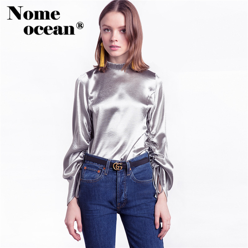Gold metallic blouse promotion shop for promotional gold for Silver metallic shirt women s
