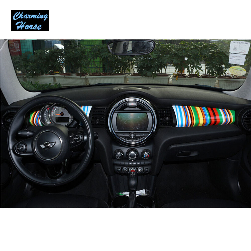 2pcs Car Interior Styling Dashboard Panel Trim Cover Sticker For Mini Cooper S One F55 F56 F57