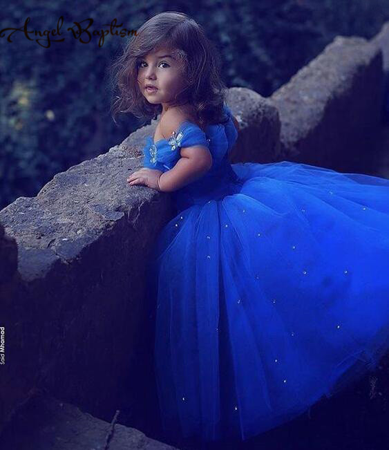 cc7c569e248 Long royal blue Princess Cinderella Flower Girl Dress Off the shoulder Ball  Gown puffy tulle tutu baby first birthday party gown-in Dresses from Mother  ...