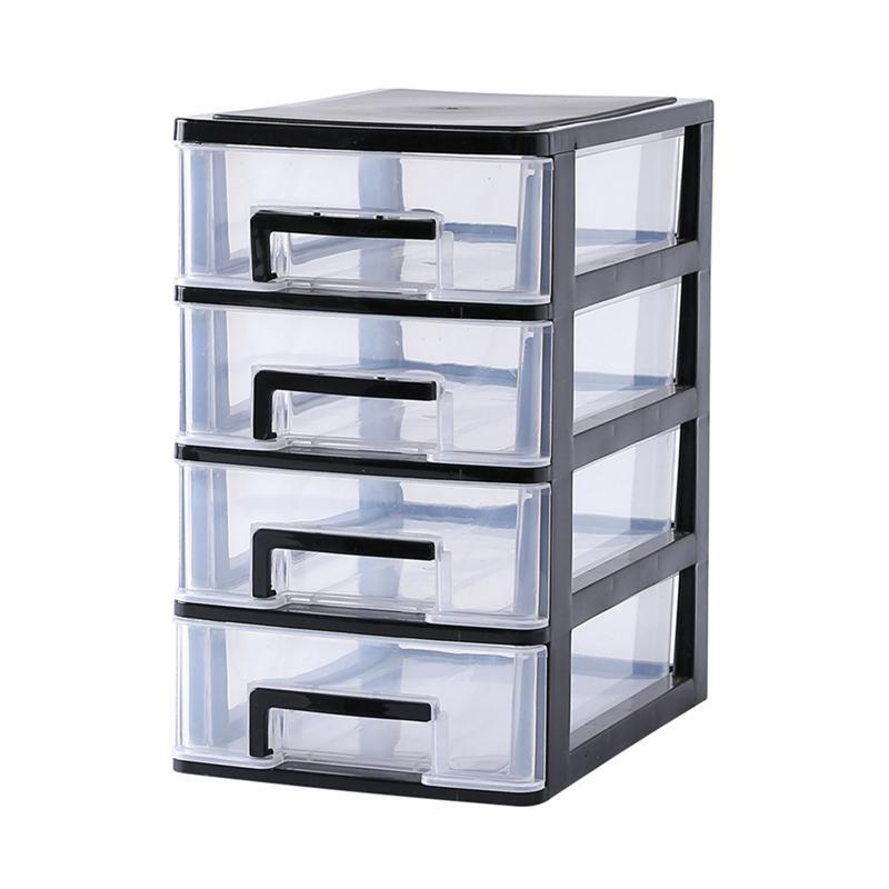 4 Layers Transparent Desktop Drawer Type Storage Box Mini Cosmetics Storage Organizer Sundries Holder Home Office Storage Box sticker