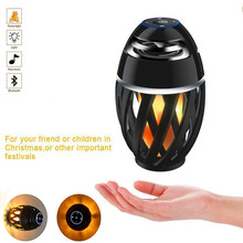 Christmas Gift Led Lamp Speaker Bluetooth Flame Light Speaker Outdoor/Indoor Portable Stereo Bluetooth Speaker With 96 LED Beads