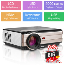 4000 Lumens LED Projector Full HD Video Home Cinema Backyard Movies Mobile Beamer For Smar
