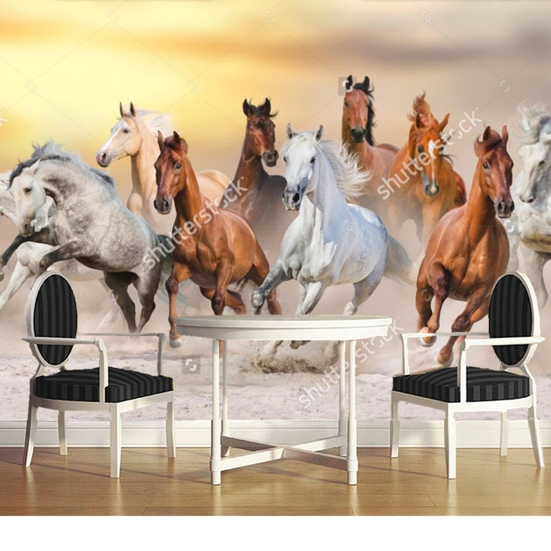 Custom natural landscape wallpaper,Horses,3D photo mural for living room bedroom restaurant background wall waterproof wallpaper custom green forest trees natural landscape mural for living room bedroom tv backdrop of modern 3d vinyl wallpaper murals