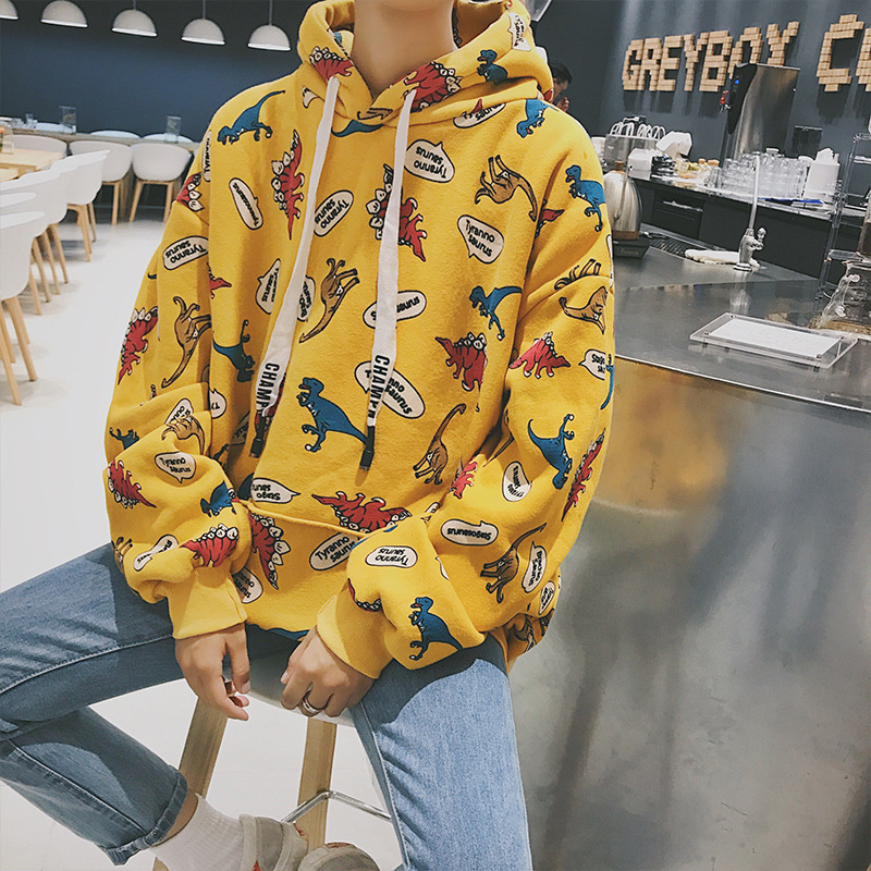 Mens Hip-hop Jacket Cartoon Dinosaur Prints Hooded Velvet Thickened Casual Yes None Full Cotton 2019 Latest Style Online Sale 50% Men's Clothing
