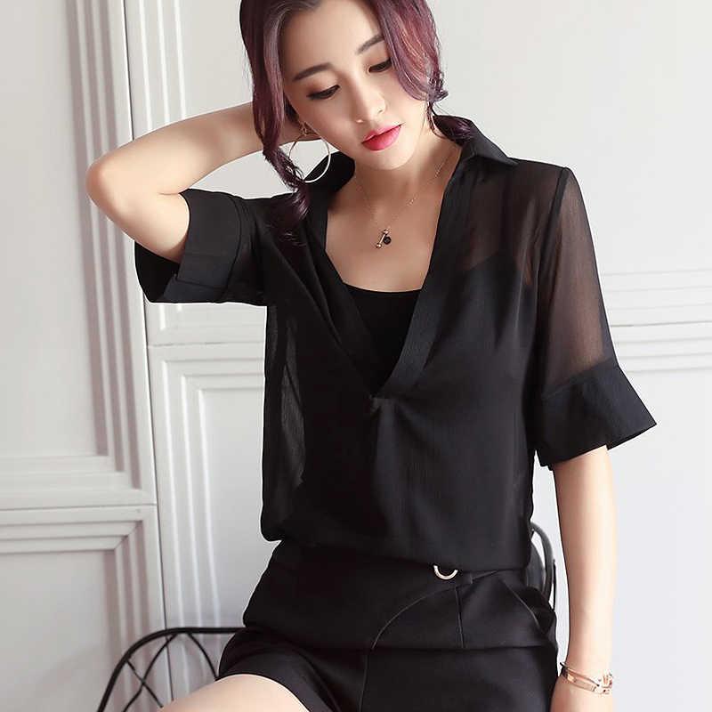 Escavar Blusa Camisas Das Mulheres do Verão Do Vintage V Pescoço Metade Blusas Camisa manga Blusas Tops Mulheres Plus Size Sólidos Roxo Femme