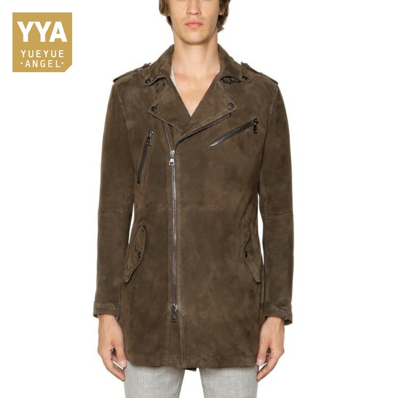 latest style of 2019 reasonably priced high quality guarantee US $227.16 42% OFF Mens Luxury 100% Sheepskin Suede Leather Long Jacket  Motorcycle Genuine Leather Trench Coat Male Biker Zipper Streetwear  Jackets-in ...