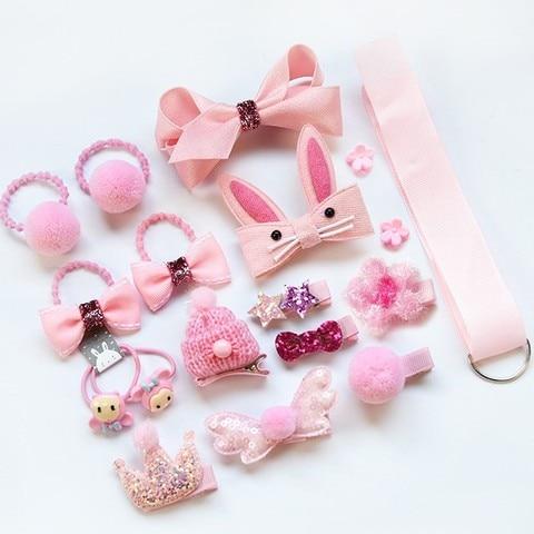18pcs children cartoon hair clip girl gift headwear boxed hairpin hair rope accessories hair ring circle kid lovely Multan