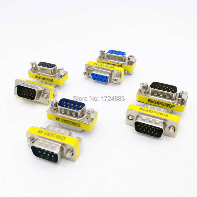 DB9/DB15 Mini Gender Changer Adaptor RS232 COM D-Sub Ke Pria Wanita VGA Konektor 9 15pin