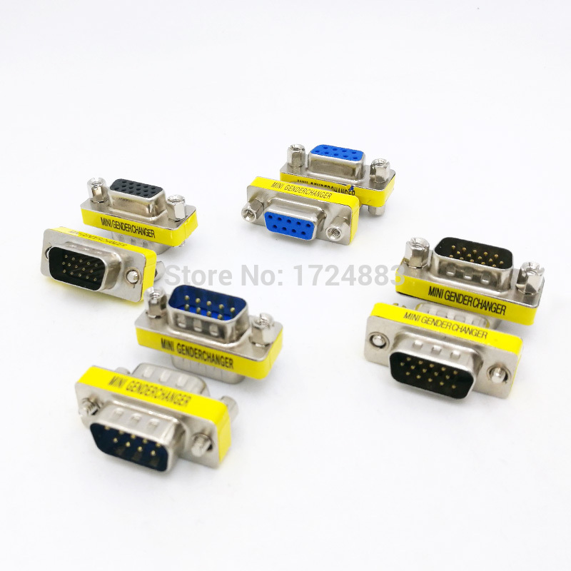 DB9/DB15 MINI Gender Changer adapter RS232 Com D-Sub to Male Female VGA plug connector 9 15pin купить