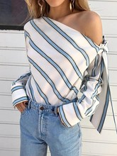 2018 Women Fashion Stripe Blouse Lace Up White Blouse Off Shoulder Sexy Shirt Top reddish brown tie up detail off shoulder blouse
