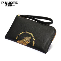 P.KUONE Brand Original Design Chinese Style Black Color with Gold Leopard Men Long Wallet portable handle bag Clutch Wallet