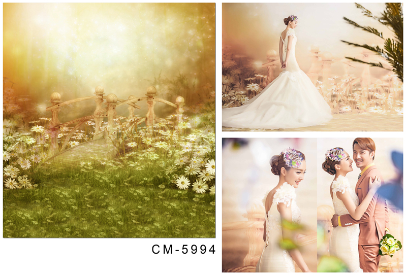 12 ft wide 8 ft height spring vintage photography background flowers wood bridge wedding vinyl backdrops for photography