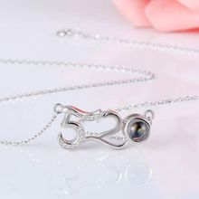 1PC One hundred language projection necklace 520 I love you shape clavicle chain couple birthday gift