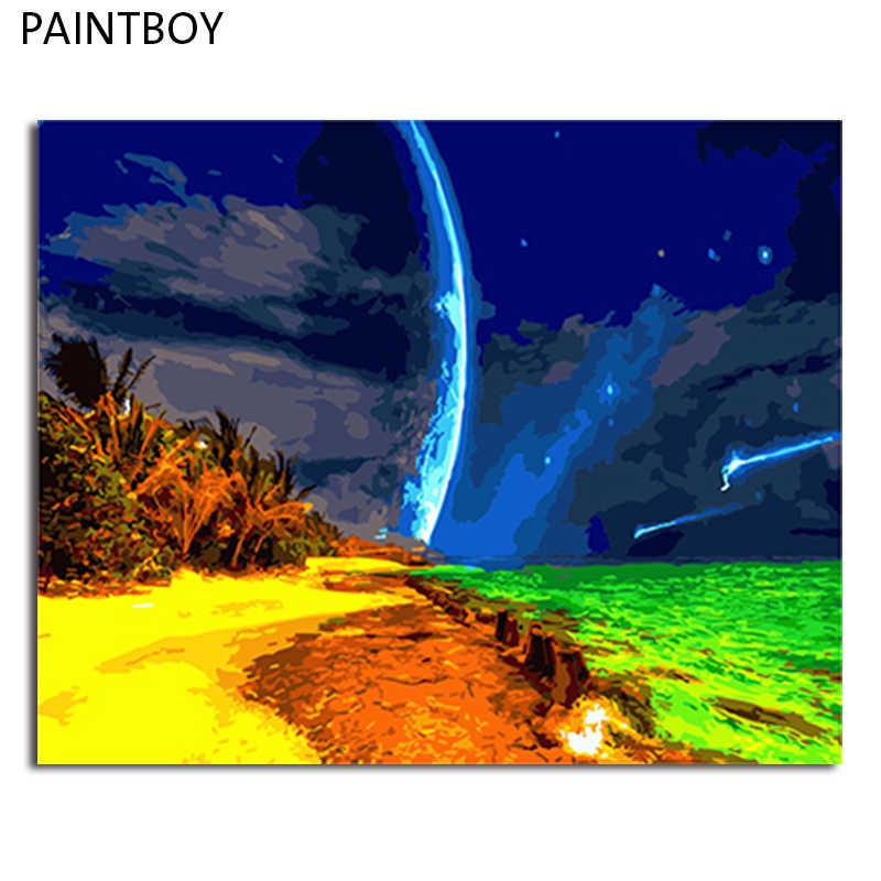 PAINTBOY Landscape Framed Pictures Painting By Numbers DIY Digital Canvas Oil Painting Home Decor For Living Room
