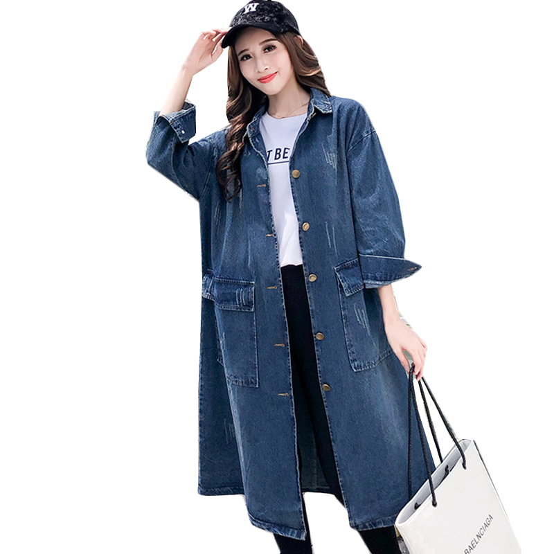 Women denim coat 2019 spring big size cowboy coat Women Jean   Trench   Coat Streetwear Ladies Loose Denim Outwear Overcoat