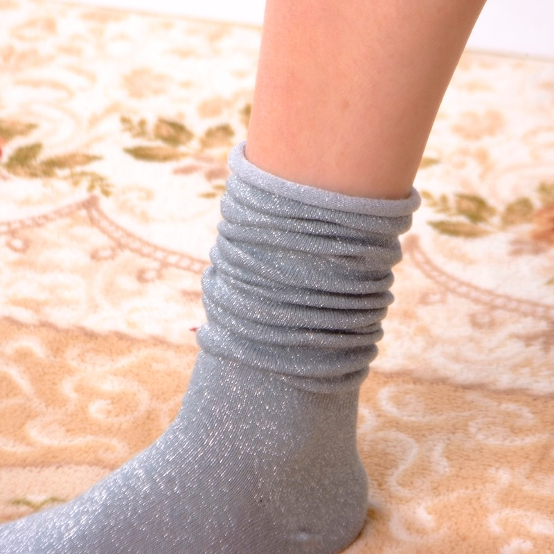 Fashion Long Socks Women Winter Cotton Happy Socks Funny Shiny Loose Glitter Socks Thick Warm Edge Curl Elegant Christmas Socks 18