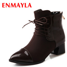 ENMAYLA Fashion Slip-on Lace-up Martin Boots Women Brown Black Red Med Heels Ankle Boots Autumn High Top Shoes Woman hee grand lace up rain boots woman fashion med heels new shoes woman high quality casual hot sale women boots size 36 40 xwx4924