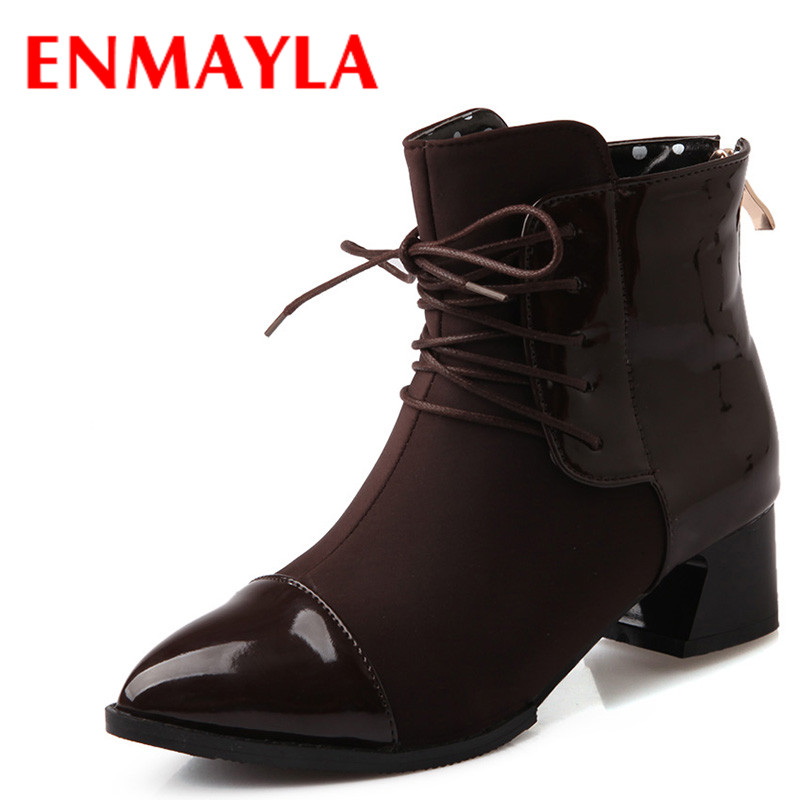 ENMAYLA Fashion Slip-on Lace-up Martin Boots Women Brown Black Red Med Heels Ankle Boots Autumn High Top Shoes Woman enmayla winter autumn high heels lace up knee high boots women shoes sewing green brown black knigh long boots