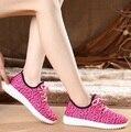 Sapatos mujeres moda sport zapatos de malla fresco resbalón en los zapatos planos de la señora zapatos femeninos del verano del ocio cómodo zapato de mujer