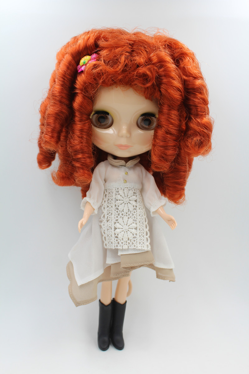 Blyth doll,Brown, curly hair, wheat skin, nude doll, 7 joints, lovely fashion gift doll.