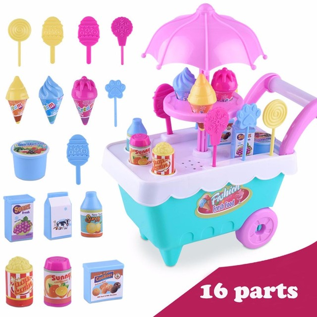 6873d23bcd2 Children Gift Ice Cream Cart Play Set Kids Pretend play Toy Food Toys  Education