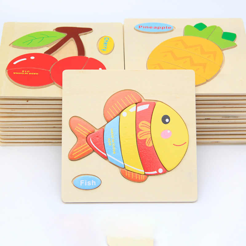 HOT SALE Wooden 3D Puzzle Jigsaw Wooden Toys For Children Cartoon Animal Puzzles Intelligence Kids Children Educational Toys