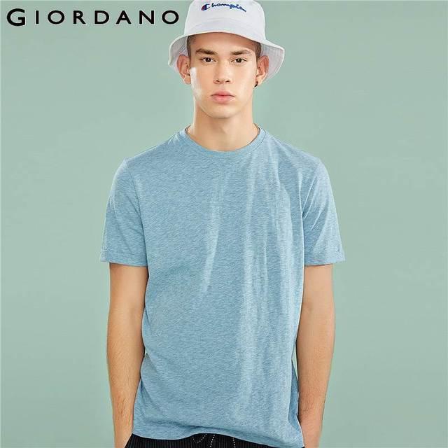 491b6324bfb1 Giordano Men T Shirt Men Ribbed Crewneck Slub Cotton Polyester Mixed Fabric  Tees Men Roll-up Short Sleeve Cuffs Tshirt Men