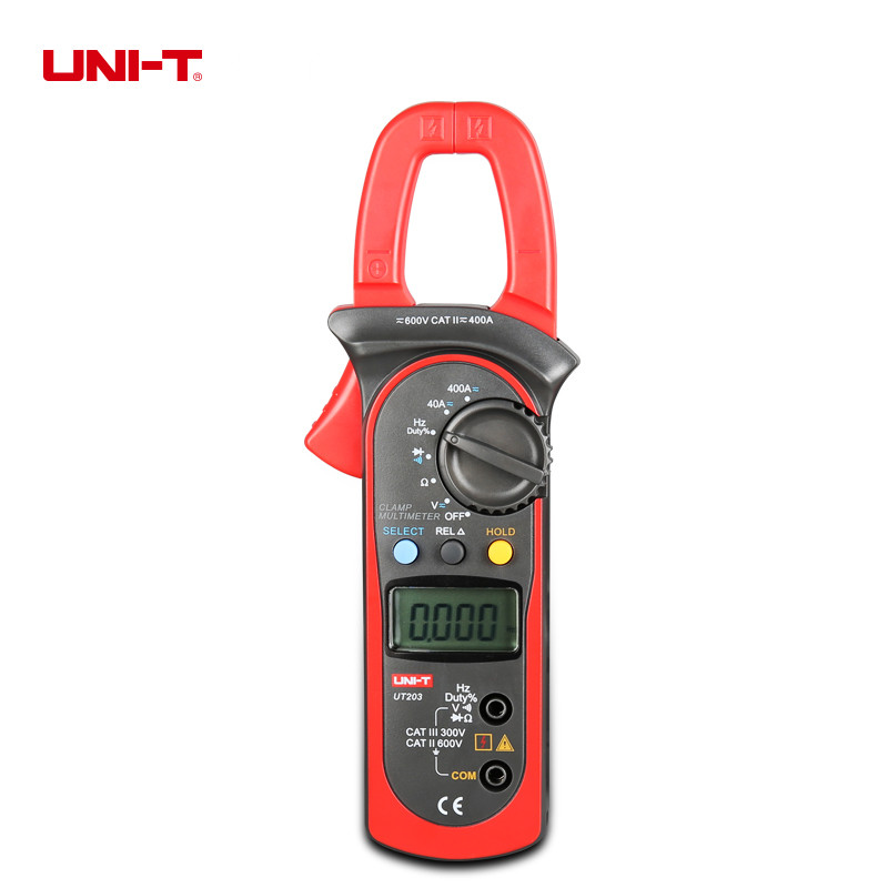 UNI-T UT203 Digital Clamp Multimeter AC/DC Current Volt Ohm Meters Frequency Tester