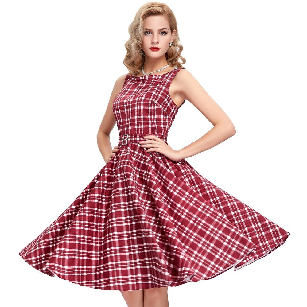 TELA ESCOCESA Vestidos mujeres vestido de verano vintage 50 s 60 s ...