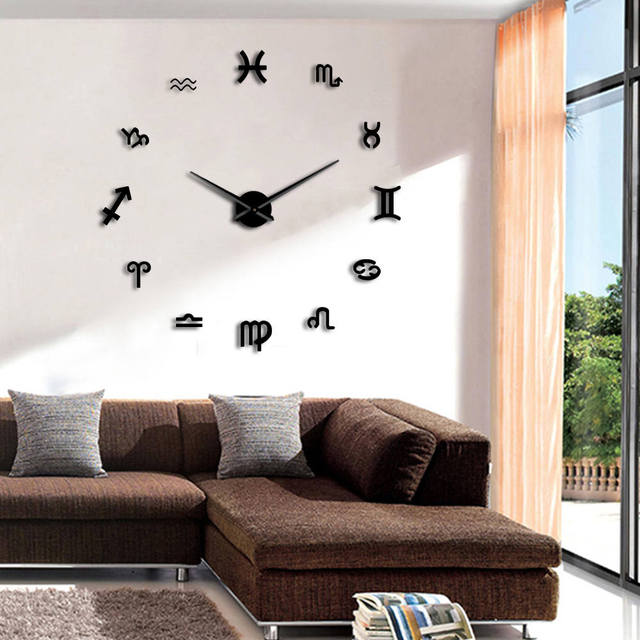 1Piece 12 Astrology Symbols Art Wall Decor Clock DIY 3D Mirror Wall ...