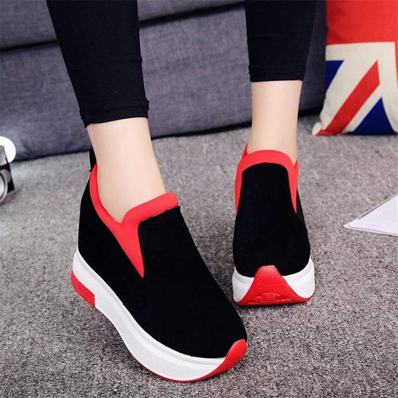 COOTELILI Spring Women Wedges Platforms Faux Suede Loafers Round Toe Inside Heighten Slip-On Pumps Casual Shoes Woman buckle slip on wedges
