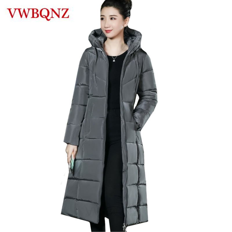 Large size 6XL Winter 2018 New Women Down cotton Jacket Hooded Coat Loose   Parkas   Warm Long Outerwear Solid Female Casual Jacket