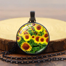 Gimayer Vintage Sunflower Time Crystal Necklace Glass Alloy Pendant Sweater Chain Jewelry Wholesale недорого
