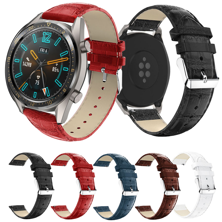Leather Band For HUAWEI WATCH GT Smart Watch Crocodile Pattern Replacement Bracelet Watch Band Strap Belt For Huami Amazfit 2/2S