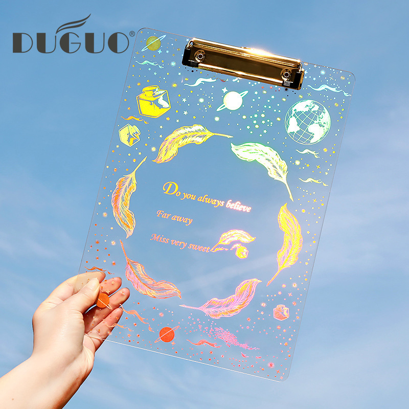 DUGUO Stationery Dream Starry Sky Acrylic Bronzing Plate Folder A4 Folder Writing Board Kawaii Folder Office / School Supplies