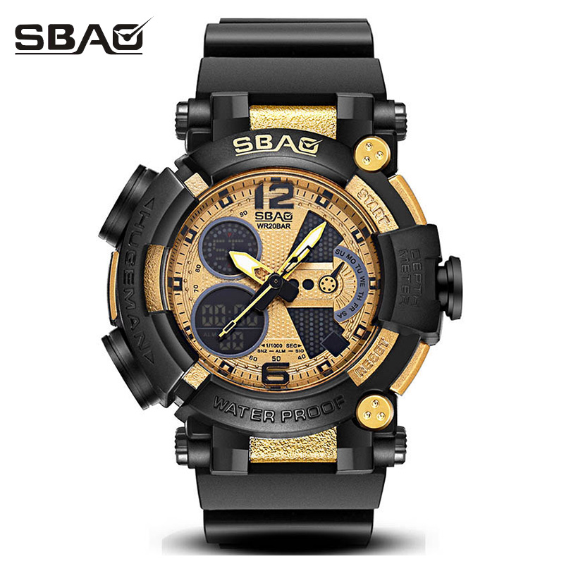 цены SBAO Sport Military Wrist Watch Men Top Brand Luxury Electronic Wristwatch LED Digital Watches For Male Clock Relogio Masculino