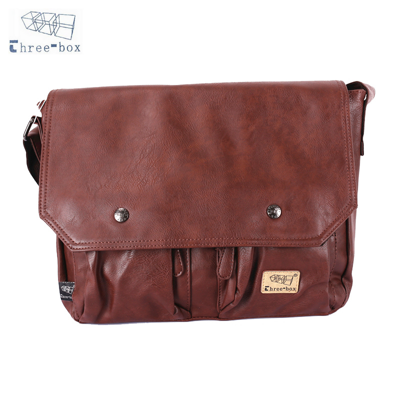 Three-Box Fashion Satchel Sling Handbag Man PU Leather Shoulder Messenger Bag Vintage Male Crossbody Bags 7230 aerlis brand men handbag canvas pu leather satchel messenger sling bag versatile male casual crossbody shoulder school bags 4390