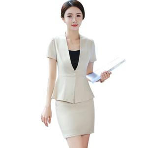 Inexpensive NEW Apricot Fashion Work Wear Women Skirt Suit Business Formal Office Ladies Plus Size Short Sleeve Blazers With Skirt Uniform — wickedsick