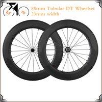 Ultra Light DT 240s Carbon Wheels 700C 23mm Width 88mm Deep Tubular Racing Bicycle Wheel DT