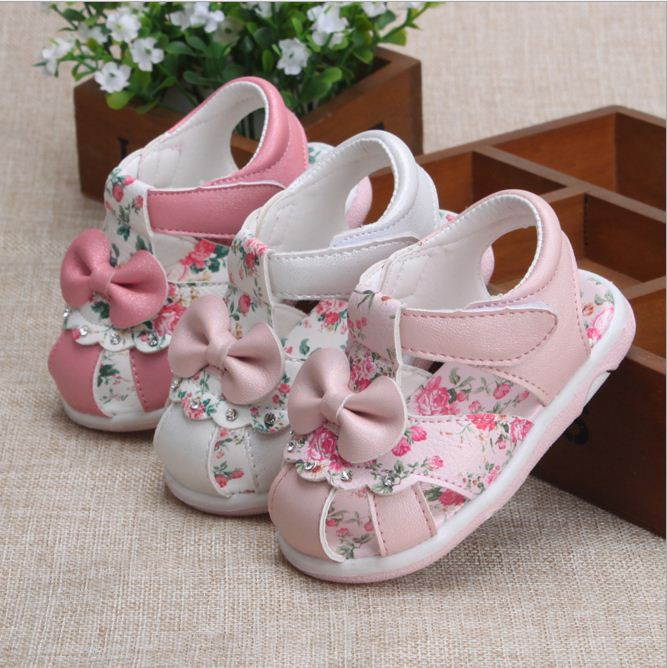 kids Baby girls sandals with bow summer shoes child infant flower sandals baby Toddler shoes soft bottom princess girls sandals flower baby summer baby shoes for girls soft sole cute princess elegant fashion cotton high quality baby shoes for girls 60a1071