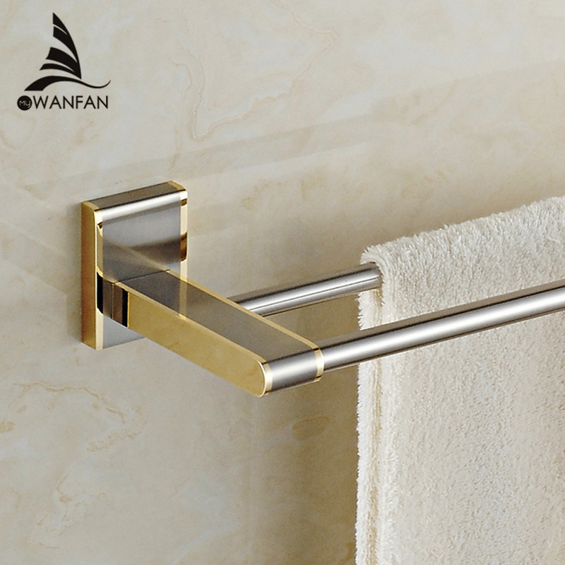 Towel Bars  Luxury Wall Mounted Golden Brass Bathroom Square Towel Rack Holder Double Towel Holder Bathroom Accessories 1611 golden polished bars wall mounted single towel rack bar towel holder solid brass bathroom accessories 3 colors towel holder