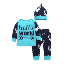Baby boy girls clothing 3 pieces suit Hello world printed  T-shirt + Deer printTrousers+ Hat boy Children Kids clothing sets