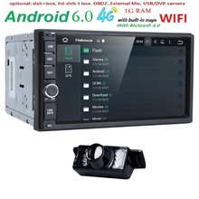7″ Double 2 Din Android 6.0 Media Player Universal Car Radio Stereo Quad Core GPS Navigator Head Unit Steering Wheel 4G WIFI CAM